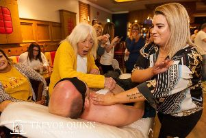 Harley's Great Granny waxing a strip off Harley's big cousin David Drizzle