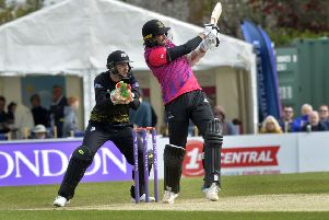 Sussex Sharks V Gloucestershire at The Saffrons 5th May 2019 - David Wiese batting (Photo by Jon Rigby) SUS-190605-123213008
