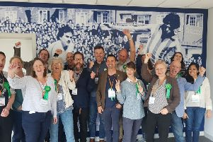 The Greens celebrate after tripling their seats on Lewes District Council