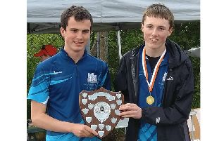 Felix Lunn and Eoin Hankinson of Kenilworth School with the West Midlands Schools Orienteering Secondary School trophy