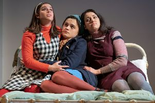 Georgia May Foote as Vita, Hannah Bristow as Fran and Mona Goodwin as Tina. Picture by Marc Brenner