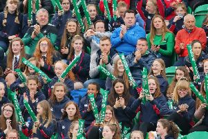 Ireland fans enjoying the action at the FIH Series Finals in Banbridge