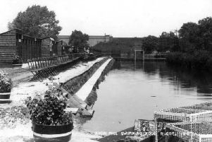 This old postcard  hopefully shows more clearly what the old Avon Mill swimming pool used to be like