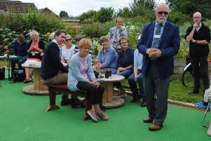 East Midlands in Bloom judge Richard Stephen makes a speech during his tour of Boston.
