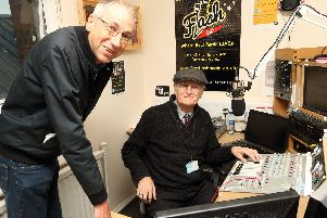 Chris Rogers and Pete Crew in the studio broadcasting The Flash, a Waterlooville community radio station set to launch on FM