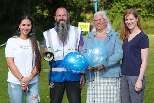 Pictured at the First Birthday Celebrations of the Lough Moss junior parkrun is the Vice Chair of the Leisure and Community Development Committee, Councillor Hazel Legge along with Councillor Sorcha Eastwood, Councillor Michelle Guy and the council's Sports Development Officer, Faron Morrison.