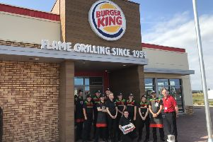 Staff at the new Burger King restaurant, which opened this morning.
