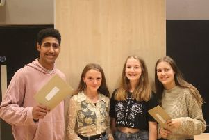 Uckfield College Sixth Form students celebrating their A-level results today (August 15)