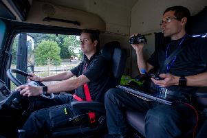 PC Dave Lee and Rob Monk in the HGV 'supercab'. Photo: Northamptonshire Police