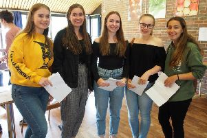 Beacon Academy students with their results