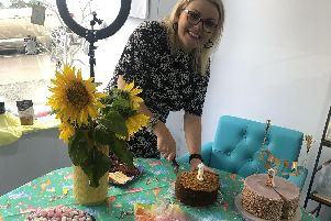 Sarah Elliot, who co-owns TINT Hair Lounge in Emsworth, celebrating their first birthday with a Great British Bake Off style party.