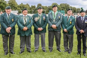Lagan Valley MP Sir Jeffreyt Donaldson with some of the veterans at the Operation Banner commemorations in Lisburn. Pic by Norman Briggs, rnbphotographyni