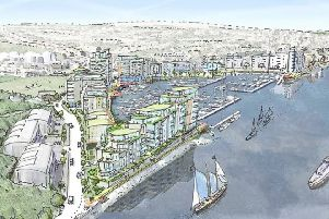 Aerial sketch of the Newhaven marina development proposals