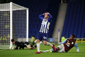 Aaron Connolly smacked the under side of the cross bar against Aston Villa in the Carabao Cup (Getty)