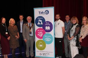 Brien Frazer, South Eastern HSC Trust, Amy Pepper, PHA, Alison Doake, South Eastern HSC Trust, Jason White, Assistant Director for Promoting Health and Wellbeing, South Eastern HSC Trust, Mayor, the Right Worshipful Councillor Alan Givan, Joe Donnelly, TAMHI, Barry Rooney, South Eastern HSC Trust, Linda Armitage, East Belfast Community Development Agency, Emma Dargan, Victims & Survivors Service and Susan Topping, PHA