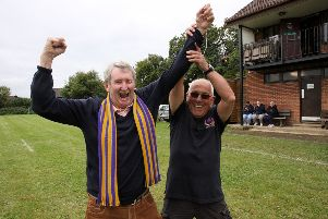 Conker champion Mick Fahey celebrates his win, photo by Ron Hill