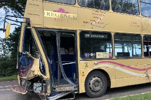 The bus was badly damaged in the collision on the A26 near Lewes yesterday (October 8)