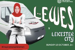 Lewes FC's poster featuring Manal al-Sharif