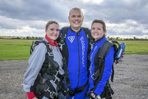 Pictured from left to right: Karen Gomm, Jean Marc Agache and Jo Ahern who each jumped on Saturday to raise money for charity, Do It For Defib. Pictures: Kirsty Edmonds.
