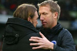 Brighton and Hove Albion manager Graham Potter with Norwich City boss Daniel Farke