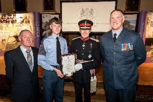 Sussex Wing Royal Airforce cadets are presented with their award by HM lord lieutenant of East Sussex, Peter Field tCdWJbloD3tFqQ1YNkNK