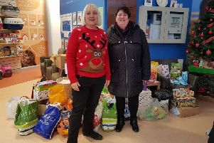 Justine Crookall (right) from Burgess Hill is appealing for festive donations