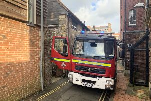 A fire engine at the scene in Lewes