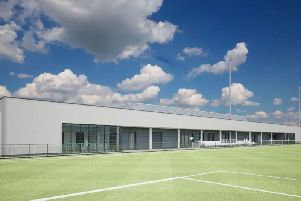 A look at one of the pitches for the new women and girls hub at the training ground. Picture: By KSS Architects