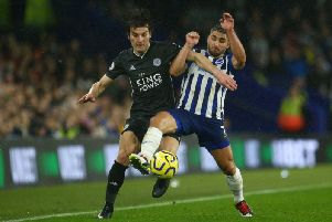 Brighton and Hove Albion striker Neal Maupay had a tough afternoon against impressive Leicester City defender alar Sync