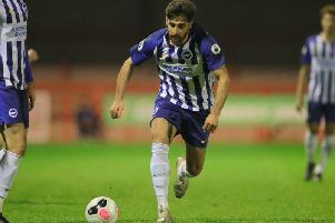 Alireza Jahanbakhsh in action for Brighton under-23s against West Ham United (By Paul Hazlewood)