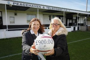 Lynnette St-Quintin, sales and marketing director for Barratt Southern Counties, and Sue Norwood, chairwoman of Peacehaven & Telscombe Football Club