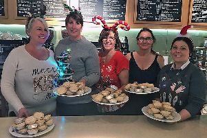 The Coffee shop team at Paradise Park prepared for the late night event with plenty of mince pies at the ready w_NsyRkRkcXWEOsjr7cF