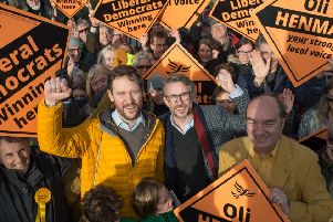 Steve Coogan with Lib Dems candidate Oli Henman in Lewes.''Picture: Roz Bassford