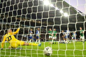 Brighton and Hove Albion keeper David Button is beaten by Adam Reach's deflected strike