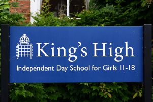 The former King's High School sign. Photo by Gill Fletcher.