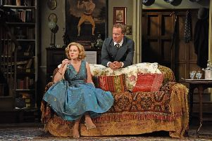Lisa Dillon and Geoffrey Streatfeild in Blithe Spirit. Photo by Nobby Clark