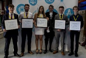Winners of the High Sheriff of Oxfordshire Young Engineer Awards with High Sheriff Richard Venables