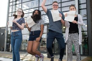 GCSE results day celebrations at the Mandeville School, Aylesbury in 2017