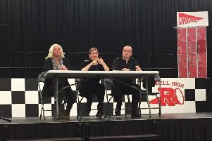 The panel at the public meeting on crime at John Ferneley College, from left resident Jaz Lynch-Bolton, Insp Siobhan Gorman and Sgt Iain Wakelam EMN-190125-133415001