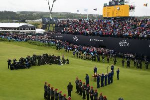 Shane Lowry walks out to receive the Claret Jug after winning The Open Championship 2019 at Royal Portrush Golf Club. Photo: Richard Sellers/PA Wire. The Open website is TheOpen.com