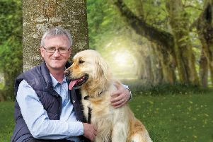 John with the Mackle family dog, Holly, who ''loves'' the Naturo range. ''Her absolute favourite is Chicken, Lamb and Rice with Vegetables!'' reveals John.