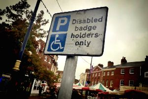 A sign showing a disabled parking space in Melton town centre EMN-191015-162605001