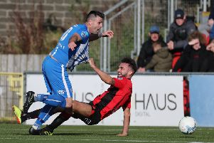 Action from Coleraine's weekend win over Crusaders. Pic by Pacemaker.