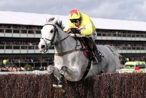 Politologue and Harry Skelton jump the last on their way to winning the Betway Queen Mother Champion Chase