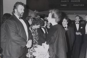 METP ET library copies  official opening of showcase cinema by Princess Anne she is talking to geoff capes 1988