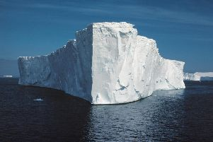 A typical tabular iceberg. PA Photo:  C Gilbert