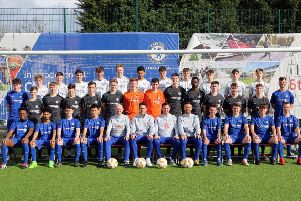 The Bexhill College men's football academy players and coaches