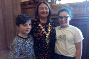 The new Mayor. Councillor, Michaela Boyle, with her proud grandchildren, Cormac and Blithn, after receiving the chains of office in the Guildhall tonight.
