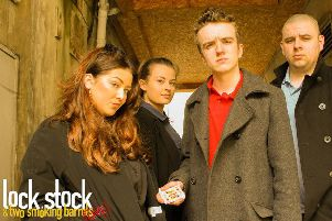 Stars of North West Regional College's Lock Stock and Two Smoking Barrels from L-R: Melissa Bell, Sharon Sweeney, Ben McGinn and Eoin Callaghan.