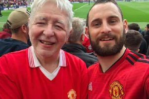 Eamon and Colum Friel at a Manchester United match earlier this year.